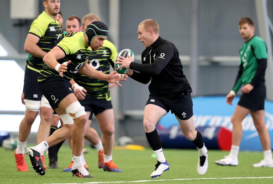 Keith Earls, right, could win his 86th cap for Ireland against England on Saturday