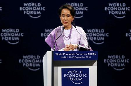 Myanmar State Counsellor Aung San Suu Kyi speaks at the plenary session of the World Economic Forum on ASEAN in Hanoi