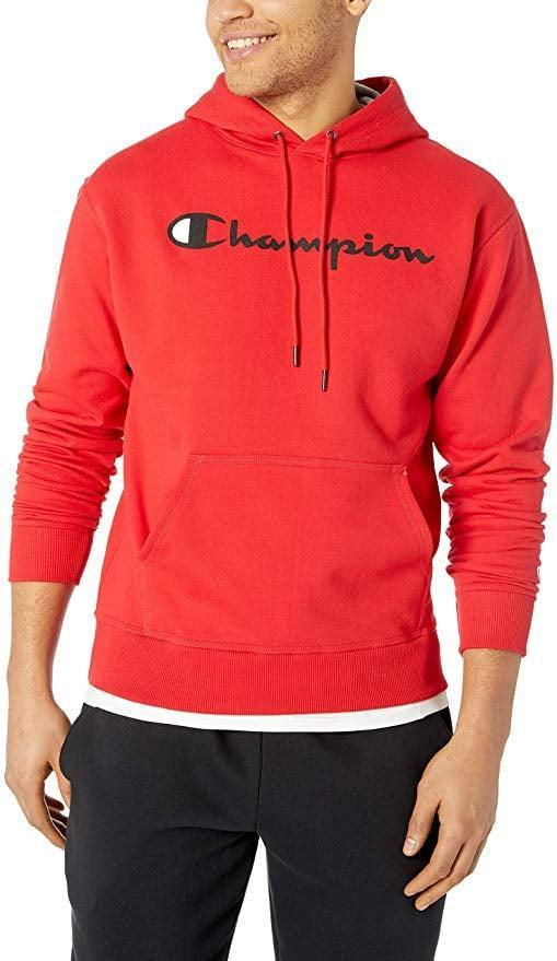 <p>Whether he's off to work out or hanging out with friends, he can throw on the <span>Champion Graphic Powerblend Fleece Hoodie</span> ($26, originally $50) for a casual look.</p>