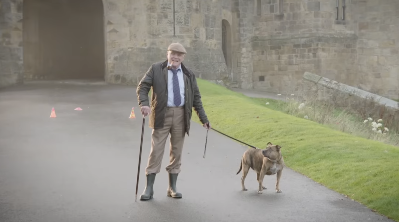 Sir Anthony Hopkins with Freya, Britain's loneliest dog in 'Transformers: The Last Knight' (Paramount)