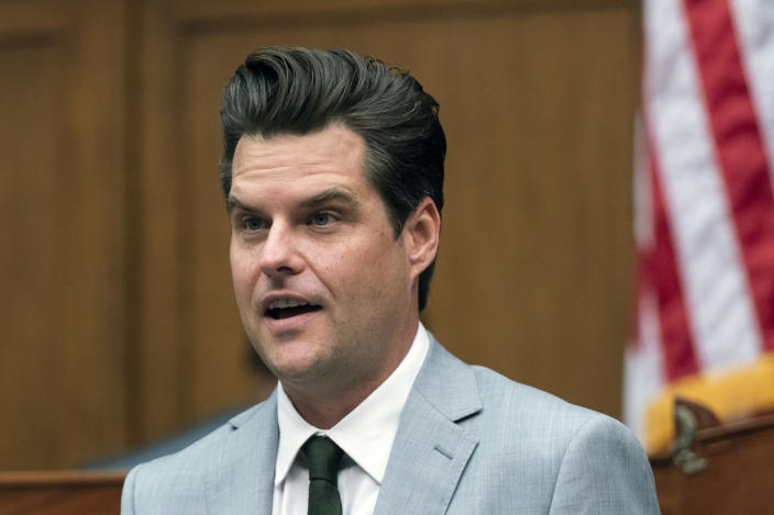 FILE - In this April 14, 2021 file photo, Rep. Matt Gaetz, R-Fla., questions witness during a House Armed Services Committee hearing on Capitol Hill in Washington. Congressional leaders have always faced rebels in their ranks. But Reps. Matt Gaetz and Marjorie Taylor Greene are presenting top House Republicans with a test of how to handle a new breed of Trump-era, social media-savvy firebrands. (AP Photo/Manuel Balce Ceneta, File)