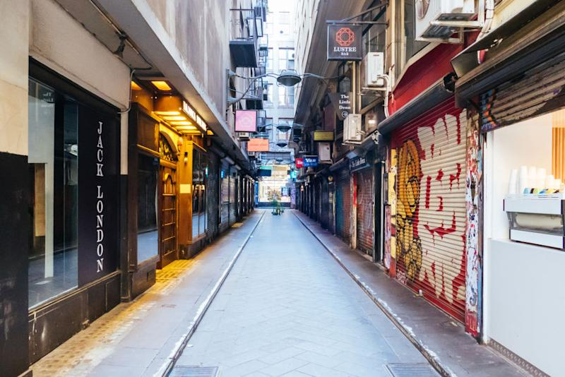 Degraves St and Flinders Lane within Melbourne CBD is quiet and deserted during the coronavirus pandemic.