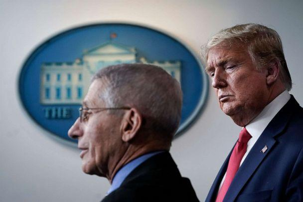 PHOTO: Dr. Anthony Fauci speaks as U.S. President Donald Trump looks on during a briefing on the coronavirus pandemic, in the press briefing room of the White House on March 24, 2020 in Washington, DC. (Drew Angerer/Getty Images)
