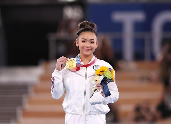 """Sunisa Lee of the United States poses during the awards ceremony after the artistic gymnastics women's all-around final in Tokyo, Japan, July 29, 2021.<span class=""""copyright"""">Xinhua—Sipa USA</span>"""