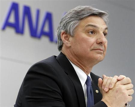 Boeing Commercial Airplanes Chief Executive Conner speaks during a news conference after he boarded An All Nippon Airways' Boeing Co's 787 Dreamliner test flight at Haneda airport in Tokyo
