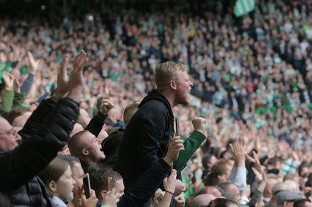 Celtic fans react at Celtic Park during the last match of the season against Heart of Midlothian, Glasgow, Scotland,Britain, May 21, 2017. Picture taken May 21, 2017 REUTERS/Paul Hackett