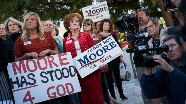 PHOTO: Women attend a 'Women For Moore' rally in support of Republican candidate for Senate Judge Roy Moore, in front of the Alabama State Capitol, Nov. 17, 2017 in Montgomery, Ala. (Drew Angerer/Getty Images)