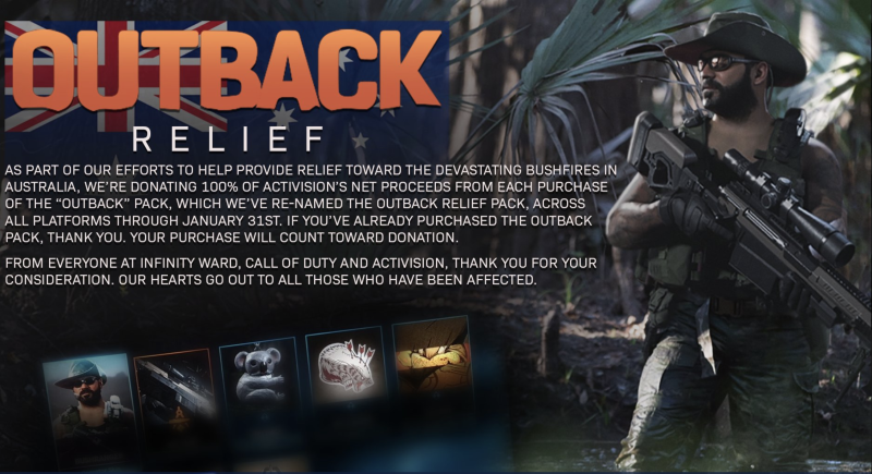 Activision-Blizzard is giving 100% of the proceeds from sales of its Outback Relief Pack in the game 'Call of Duty' to fire fighting efforts. (Image: Activision Blizzard)