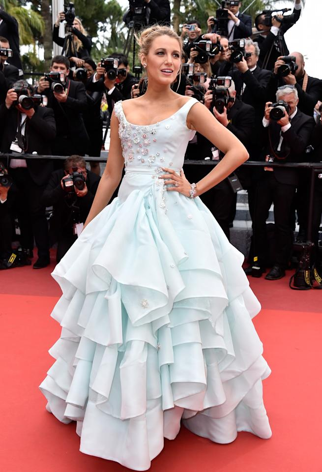 <p>Blake was a walking Disney princess in this Cinderella-esque pale blue gown by Vivienne Westwood. All she needed was a pair of glass slippers. <i>[Photo: Getty]</i> </p>