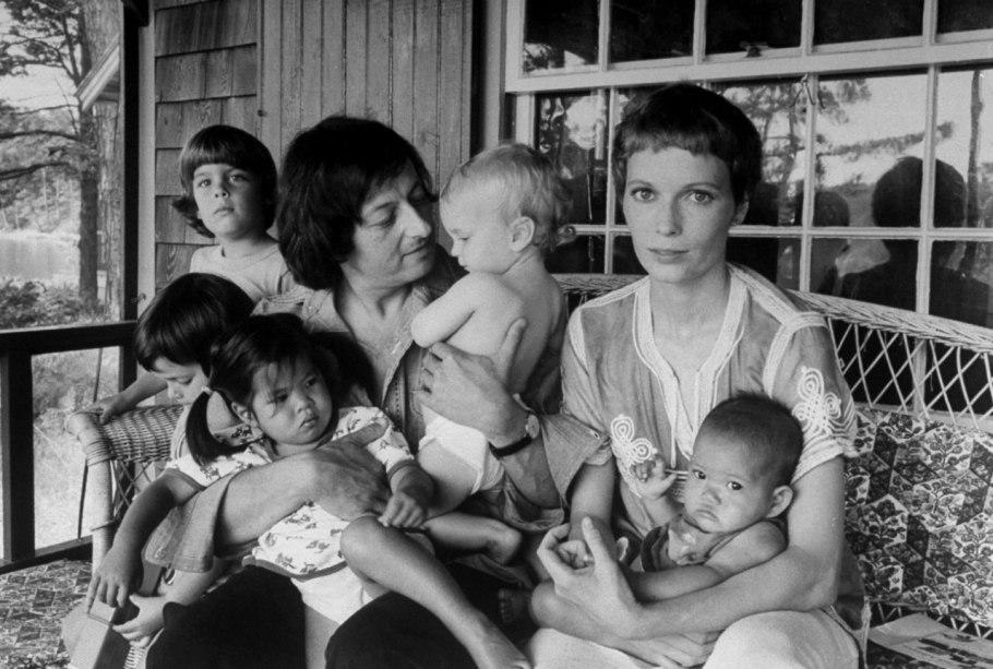"""<div class=""""caption-credit""""> Photo by: Courtesy of Getty Images</div><div class=""""caption-title""""></div>Farrow with her then husband, composer Andre Previn, along with five of their children, two of whom, Lark and Daisy, the couple adopted from Vietnam. The photograph was taken in Martha's Vineyard by Alfred Eisenstaedt for <i>Life</i> magazine."""