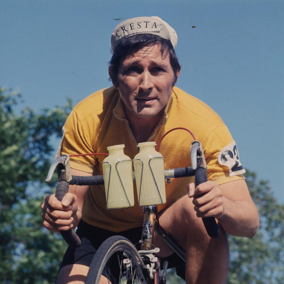 Eden riding a racing bicycle in a scene from the television drama Crime Buster in 1968 - Popperfoto