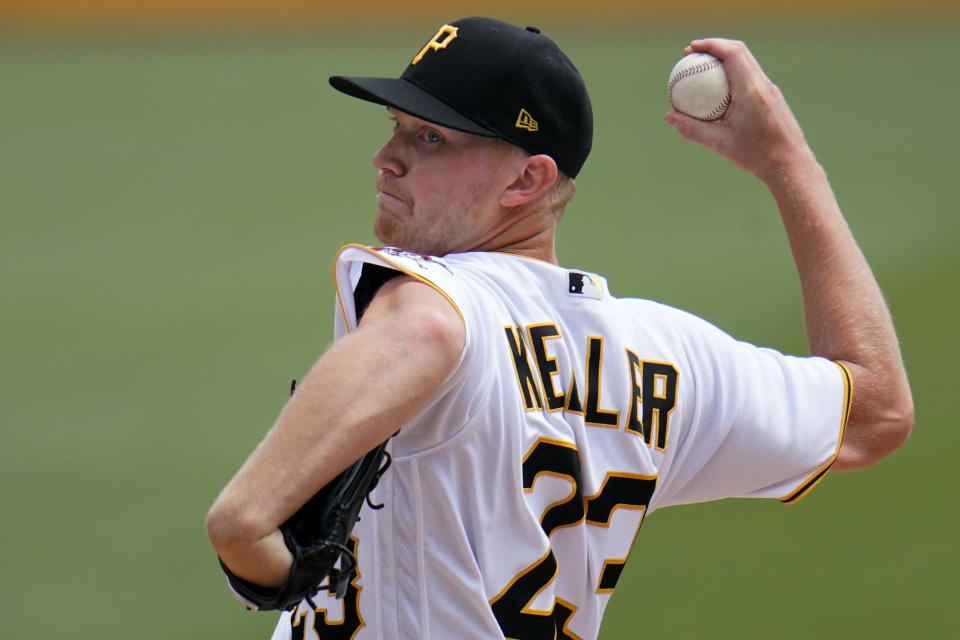 Pittsburgh Pirates starting pitcher Mitch Keller delivers during the second inning of a baseball game against the Philadelphia Phillies in Pittsburgh, Sunday, Aug. 1, 2021. (AP Photo/Gene J. Puskar)