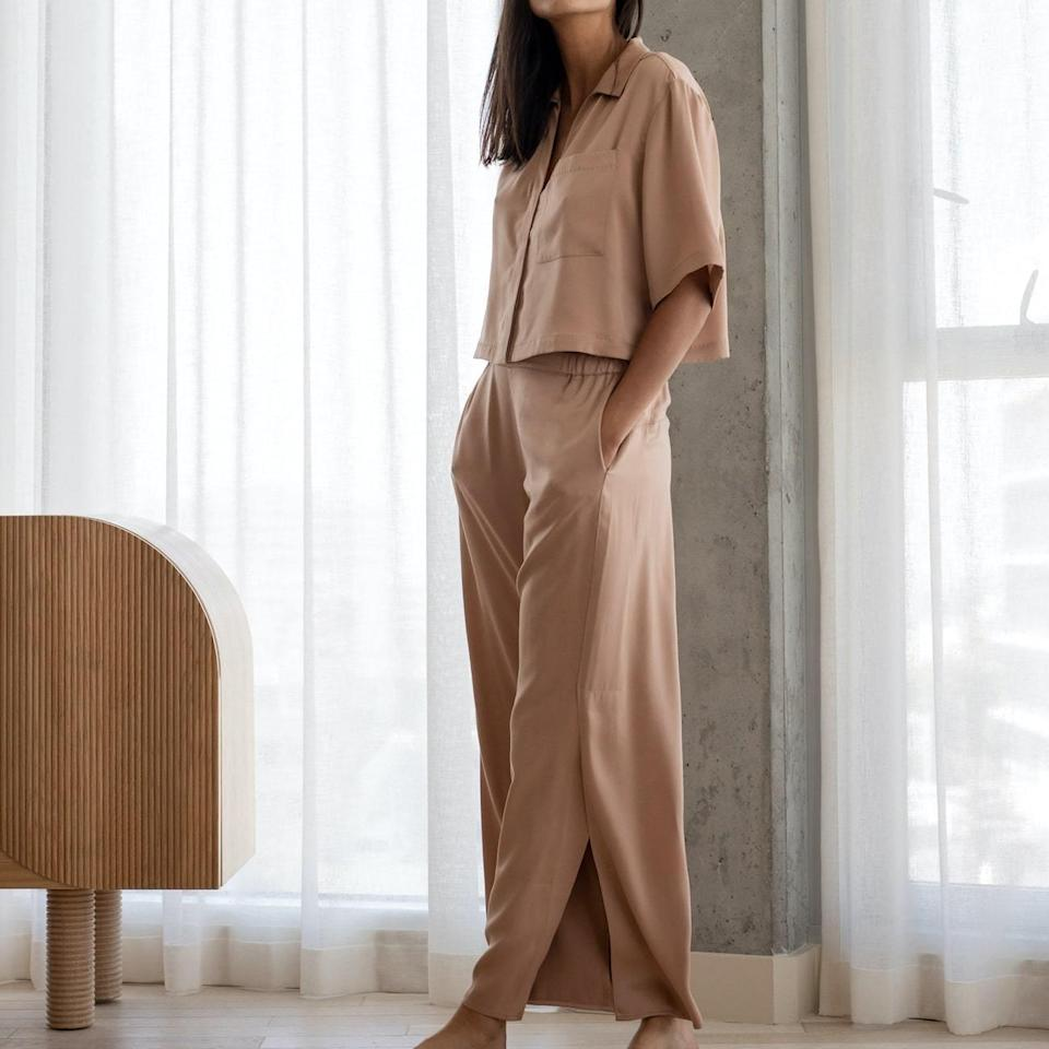 <p>This <span>Washable Silk Button Down Pant Set</span> ($258) is so elevated, you can wear it for date night at home.</p>
