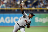 Detroit Tigers pitcher Wily Peralta works from the mound against the Tampa Bay Rays during the first inning of a baseball game Sunday, Sept. 19, 2021, in St. Petersburg, Fla. (AP Photo/Scott Audette)