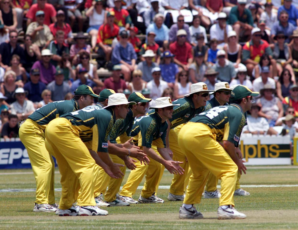 23 Oct 1999:  The Australian team fielding nine slips, during the second one day international between Zimbabwe and Australia at Harare Sports Club, Harare, Zimbabwe.X  Mandatory Credit: Hamish Blair/ALLSPORT