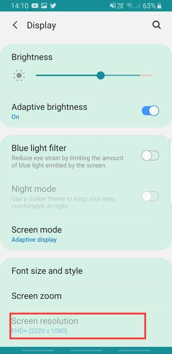 Screenshot of Screen Resolution settings on Samsung Galaxy S8