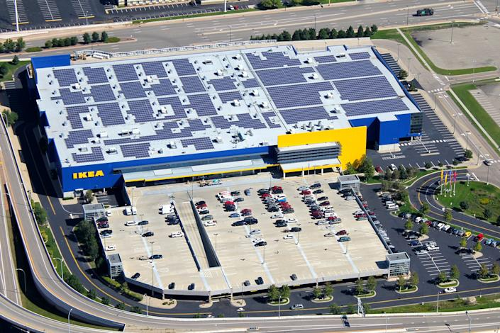 "<div class=""caption""> On its path to being ""climate positive"" by 2030, IKEA is investing in <a href=""https://www.ikeabetterlife.us/planet/"" rel=""nofollow noopener"" target=""_blank"" data-ylk=""slk:renewable energy solution"" class=""link rapid-noclick-resp"">renewable energy solution</a>s like solar panels and wind farms. In 2019, it put <a href=""https://cleantechnica.com/2020/05/04/ikea-put-1-million-solar-panels-on-370-stores-in-2019/"" rel=""nofollow noopener"" target=""_blank"" data-ylk=""slk:1 million solar panels"" class=""link rapid-noclick-resp"">1 million solar panels</a> on 370 of its stores and warehouses. </div>"