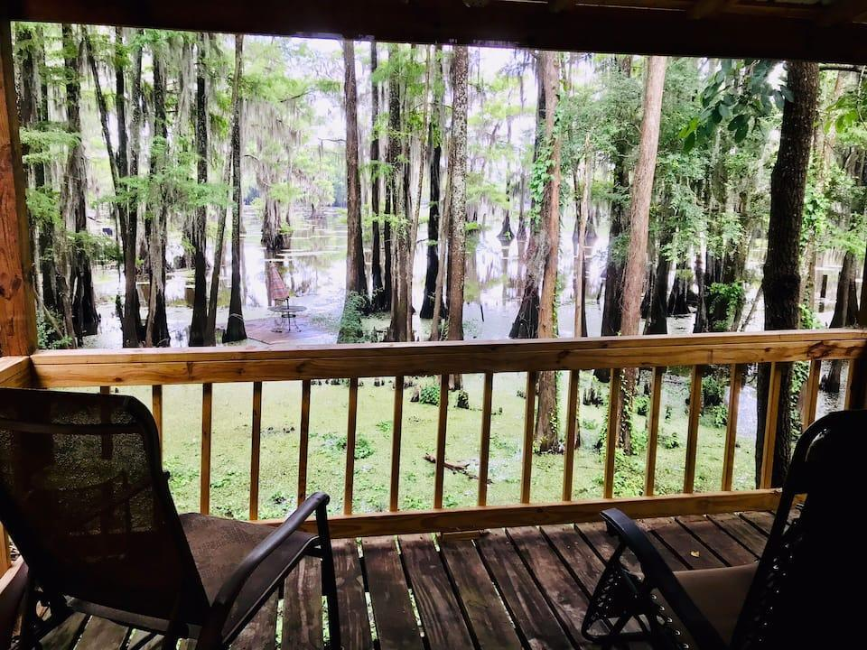 """<h2>Caddo Lake, Texas</h2><br><strong>Location: </strong>Karnack, Texas<br><strong>Sleeps: </strong>6<br><strong>Price Per Night: </strong><a href=""""http://airbnb.pvxt.net/LPPzjO"""" rel=""""nofollow noopener"""" target=""""_blank"""" data-ylk=""""slk:$148"""" class=""""link rapid-noclick-resp"""">$148</a><br><br>""""The lake house is clean and quaint and perfect for a couple; small family or two couples. [It] features all the amenities for a weekend or week-long stay. Longer stays are available for the longer-term needs of our guests.<br><br>Water access is directly behind the house on our pier. We also have two paddle boards and two kayaks that may be used by guests at no additional charge.""""<br><br><h3>Book <a href=""""http://airbnb.pvxt.net/LPPzjO"""" rel=""""nofollow noopener"""" target=""""_blank"""" data-ylk=""""slk:Caddo Lakehouse"""" class=""""link rapid-noclick-resp"""">Caddo Lakehouse</a><br></h3><br>"""