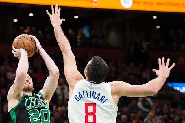 BOSTON, MA - FEBRUARY 9: Gordon Hayward #20 of the Boston Celtics shoots against Danilo Gallinari #8 of the Los Angeles Clippers at TD Garden on February 9, 2019 in Boston, Massachusetts. (Photo by Kathryn Riley/Getty Images)