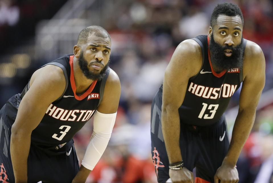 James Harden downplays beef with Chris Paul: 'It was a lot of false talk ... We're good.'