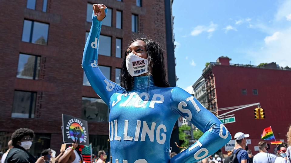 Mila Jam poses at the Queer Liberation March for Black Lives & Against Police Brutality on June 28, 2020 in New York City. (Photo by: Getty)