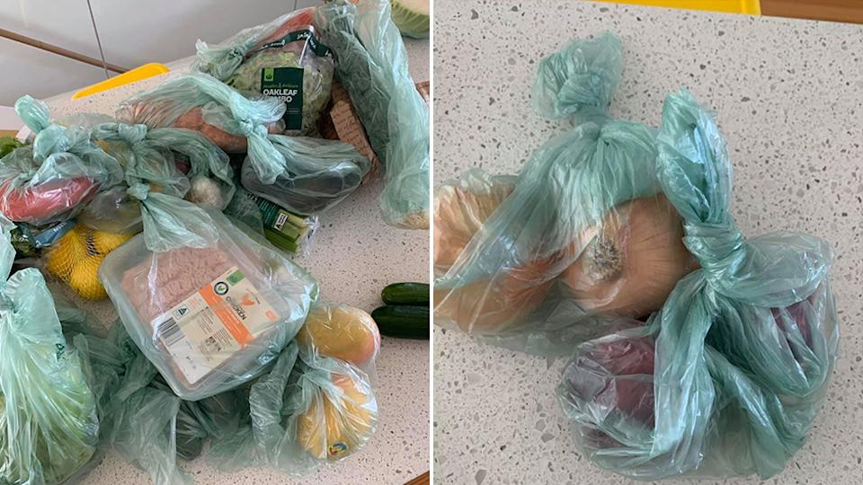 A man expressed his dismay at Woolworths for the excessive use of produce bags he received with his crate to bench order. Source: Facebook