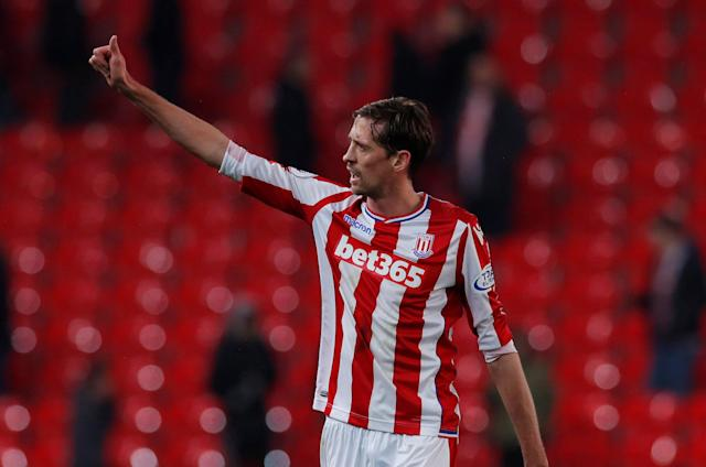 "Soccer Football - Premier League - Stoke City vs Manchester City - bet365 Stadium, Stoke-on-Trent, Britain - March 12, 2018 Stoke City's Peter Crouch after the match Action Images via Reuters/Andrew Couldridge EDITORIAL USE ONLY. No use with unauthorized audio, video, data, fixture lists, club/league logos or ""live"" services. Online in-match use limited to 75 images, no video emulation. No use in betting, games or single club/league/player publications. Please contact your account representative for further details."