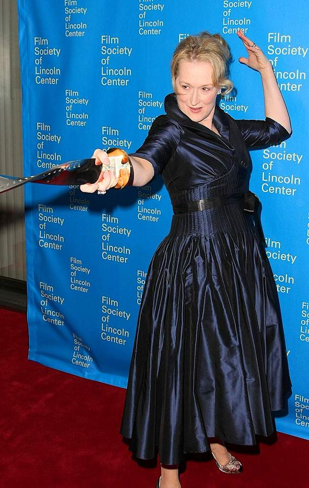 "En garde! Screen legend Meryl Streep showed off her playful side 35th Annual Film Society of Lincoln Center's Gala Tribute to herself last Monday. Steve Granitz/<a href=""http://www.wireimage.com"" target=""new"">WireImage.com</a> - April 1, 2008"
