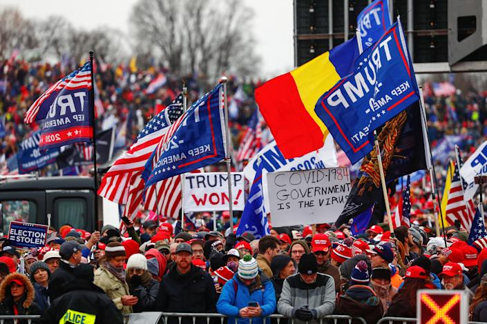 Supporters of President Donald Trump gather on the Ellipse by the White House for his rally to contest the certification of the election results in Washington, D.C., Jan. 6, 2021. (Jim Bourg/Reuters)