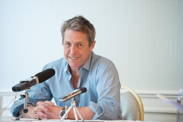 "Hugh Grant speaks at a Press Conference For ""A Very English Scandal"", 2018. (Morgan Lieberman/Getty Images)"