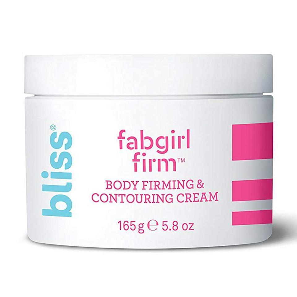 """<p><strong>Bliss</strong></p><p>ulta.com</p><p><strong>$24.00</strong></p><p><a href=""""https://go.redirectingat.com?id=74968X1596630&url=https%3A%2F%2Fwww.ulta.com%2Ffabgirl-firm-body-cream%3FproductId%3DxlsImpprod17921174&sref=https%3A%2F%2Fwww.bestproducts.com%2Fbeauty%2Fg22624901%2Fbutt-beauty-skincare-products%2F"""" rel=""""nofollow noopener"""" target=""""_blank"""" data-ylk=""""slk:Shop Now"""" class=""""link rapid-noclick-resp"""">Shop Now</a></p><p>If you're looking for a butt beauty product that can firm up the skin, you're in luck. Bliss' newly revamped Fabgirl Firm works on any area where you need a little tightening. </p><p>Formulated with a stimulating mega-blend of botanicals and caffeine, it visibly tones the skin for improved body contouring.</p>"""
