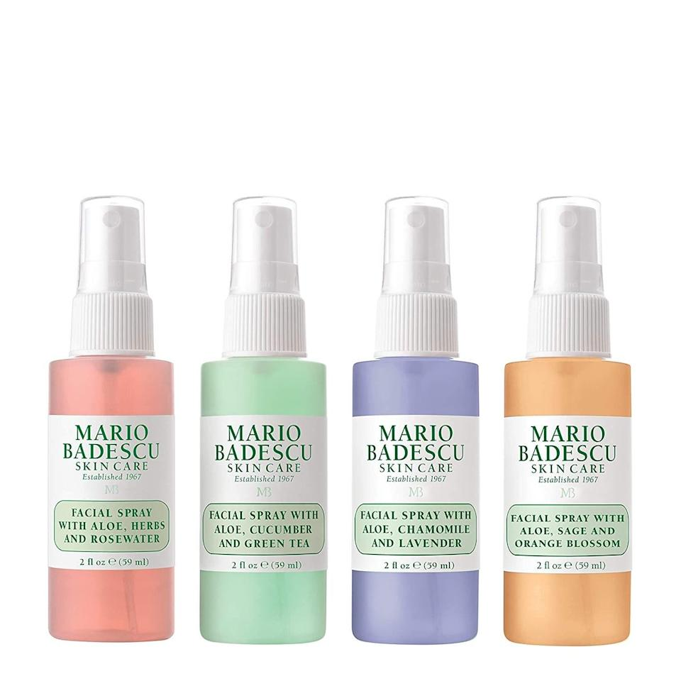 """Fans of <a href=""""https://www.allure.com/gallery/mario-badescu-reviews-best-products?mbid=synd_yahoo_rss"""" rel=""""nofollow noopener"""" target=""""_blank"""" data-ylk=""""slk:Mario Badescu"""" class=""""link rapid-noclick-resp"""">Mario Badescu</a> will love The Facial Spray Collection — a set of four skin refreshers made for soothing, clearing, and cooling. Each mist has moisturizing aloe in the formula along with different cocktails to meet their changing skin needs. Look to the Facial Spray with Aloe, Herbs and Rosewater to clarify congested skin with thyme. Or the Facial Spray with Aloe, Cucumber and Green Tea which cools with cucumber and peppermint essential water. For free-radical protection, try the Facial Spray with Aloe, Chamomile and Lavender, which is laced with <a href=""""https://www.allure.com/story/vitamin-c-benefits-for-skin?mbid=synd_yahoo_rss"""" rel=""""nofollow noopener"""" target=""""_blank"""" data-ylk=""""slk:vitamin C"""" class=""""link rapid-noclick-resp"""">vitamin C</a>. And lastly, try the Facial Spray with Aloe, Sage and Orange Blossom when you need an invigorating pick-me-up."""