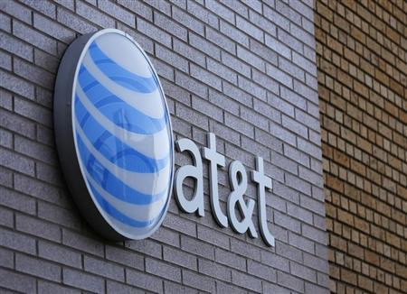 An AT&T sign is shown on a building in downtown San Diego, California