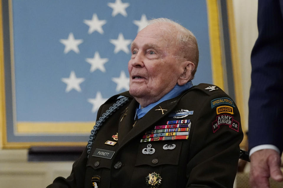 Retired U.S. Army Col. Ralph Puckett departs after being presented the Medal of Honor by President Joe Biden in the East Room of the White House, Friday, May 21, 2021, in Washington. (AP Photo/Alex Brandon)