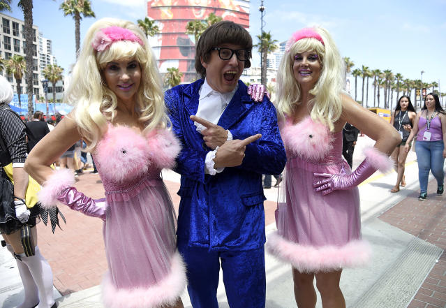 <p>Cosplayers Mark Sherman dressed as Austin Powers with Gayle Sherman and Samantha Sherman dressed as Fembots at Comic-Con International on July 20 in San Diego. (Photo: Chris Pizzello/Invision/AP) </p>