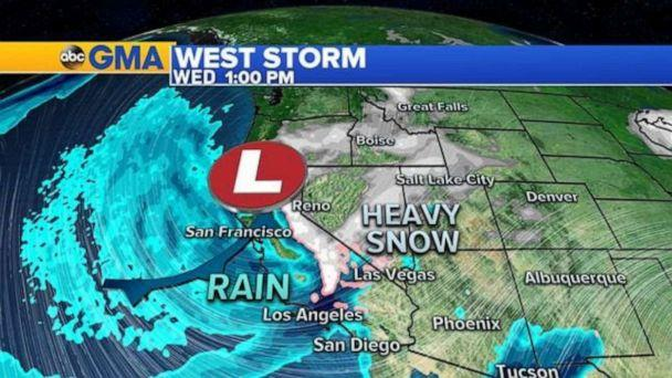 PHOTO: By Wednesday morning, the storm systems will combine in the Rockies with heavy rain for Arizona and New Mexico and snow from Lake Tahoe to the Rockies. (ABC News)