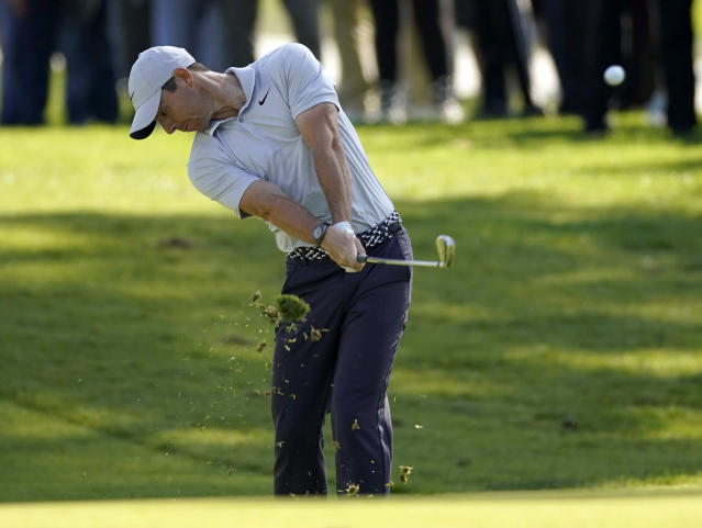Rory McIlroy, of Northern Ireland, hits his second shot on the second hole during the third round of the Genesis Invitational golf tournament at Riviera Country Club, Saturday, Feb. 15, 2020, in the Pacific Palisades area of Los Angeles. (AP Photo/Ryan Kang)