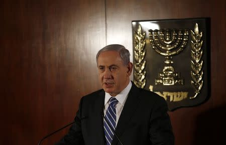 Israeli Prime Minister Netanyahu delivers a statement to media at parliament in Jerusalem