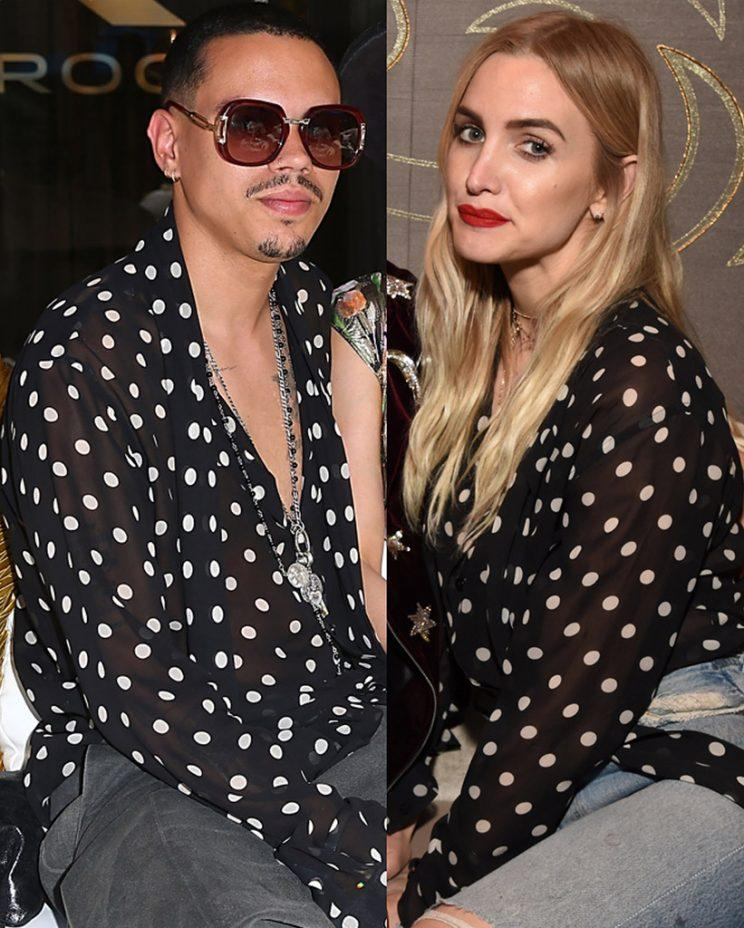 Evan Ross and Ashlee Simpson wear the same blouse