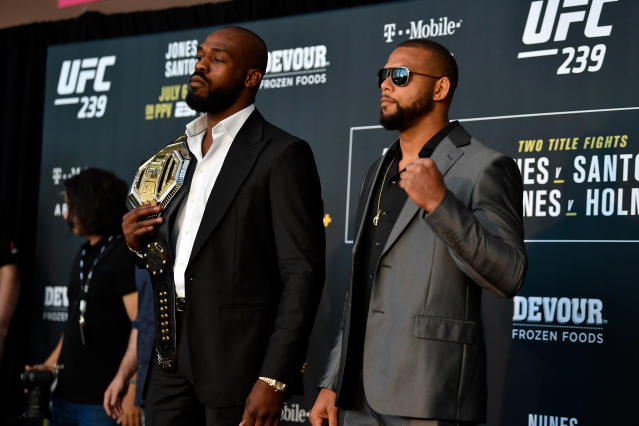 (L-R) Jon Jones will defend his light heavyweight title vs. Thiago Santos on Saturday at UFC 239 in Las Vegas. (Getty Images)