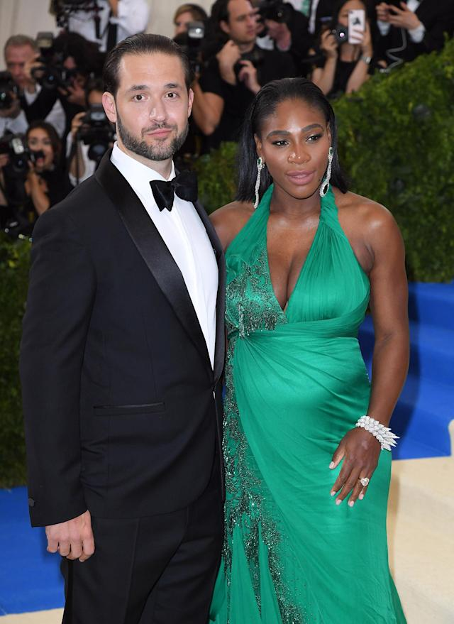 Alexis Ohanian and Serena Williams hit the red carpet. (Photo by Karwai Tang/WireImage)