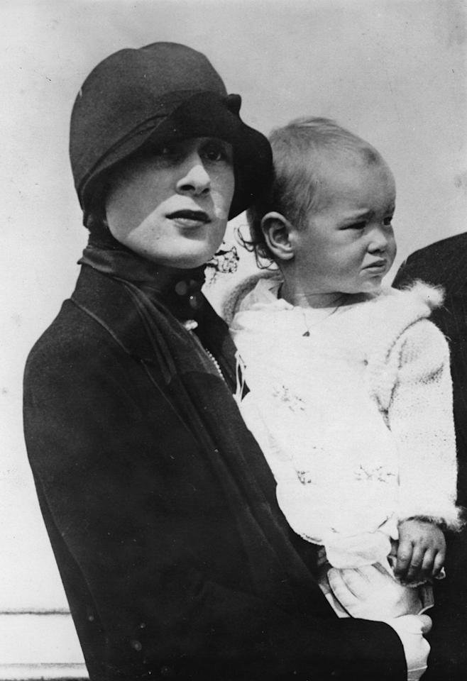 <p>Gloria was born February 20, 1924. Here, she's held by her mother Gloria Morgan Vanderbilt shortly after the death of her father, Reginald Vanderbilt.</p>