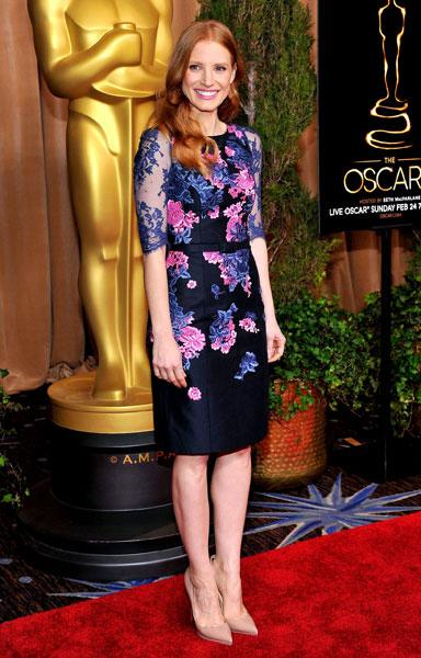 <b>Jessica Chastain</b><br><br>The Zero Dark Thirty actress dazzled in a floral Erdem Pre-Fall 2013 dress with simple nude pumps and matte pink lips.<br><br>© Rex
