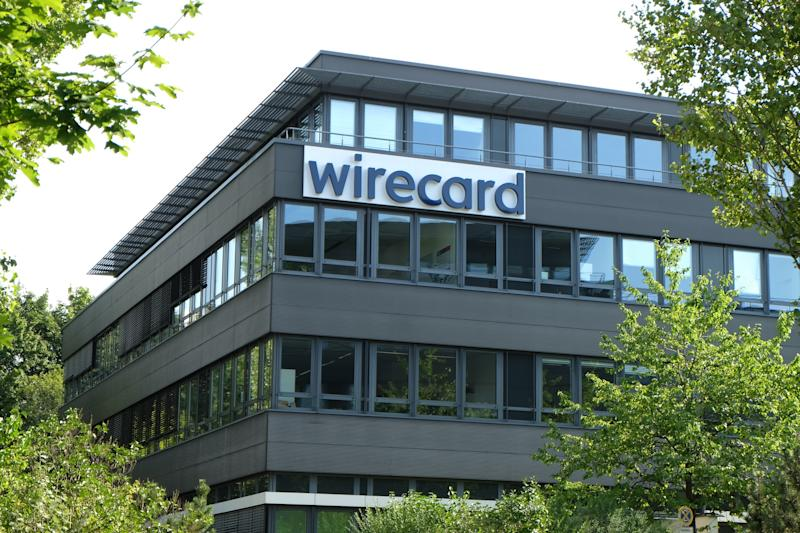 Aschheim, Germany / Bavaria - August 8, 2020: Wirecard bankrupt fintech corporation fortune 500 high-tech German electronic online payment company with logo near Munich Germany.