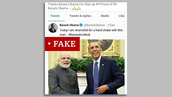 "Screen grab of Obama and Modi image labelled ""fake"""
