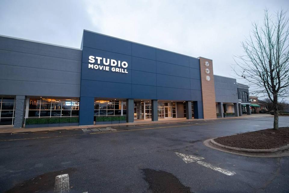 Studio Movie Grill in Prosperity Village in Charlotte remains listed as temporarily closed as the Texas-based company emerges from bankruptcy.