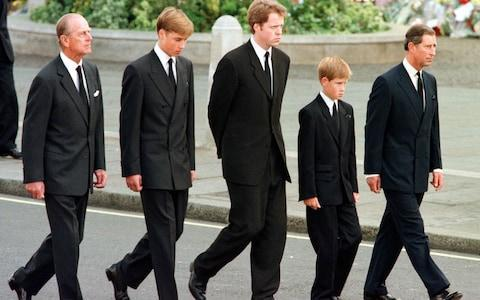 <span>The Duke of Edinburgh, Prince William, Earl Spencer, Prince Harry and Prince Charles in the funeral procession</span> <span>Credit: JEFF J. MITCHELL </span>
