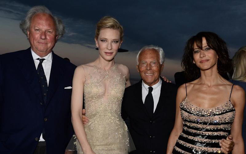 Graydon Carter, Cate Blanchett, Giorgio Armani and Sophie Marceau attend the Vanity Fair And Armani Party