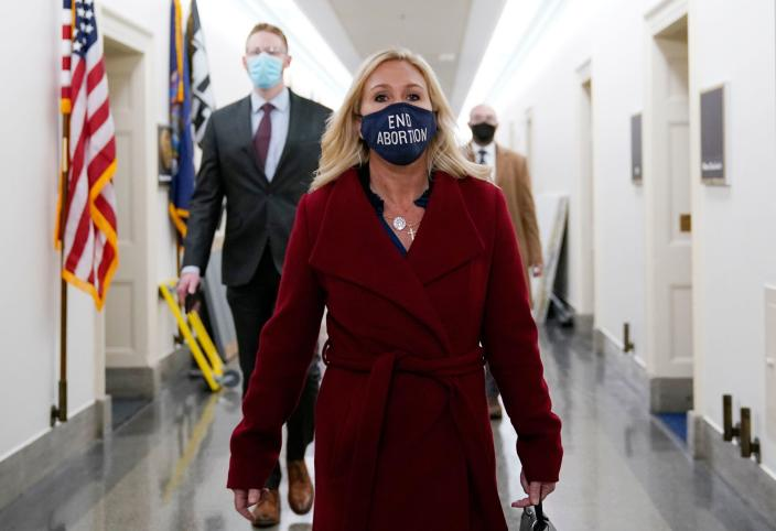 Representative Marjorie Taylor Greene, Republican of Georgia, leaves her office on Capitol Hill on February 3, 2021, in Washington, D.C. / Credit: ALEX EDELMAN/AFP via Getty Images