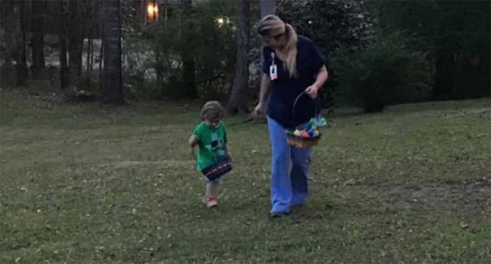 April Burton Reed and her son, Hudson, doing an early Easter egg hunt. (Photo: Facebook/Jason Reed)